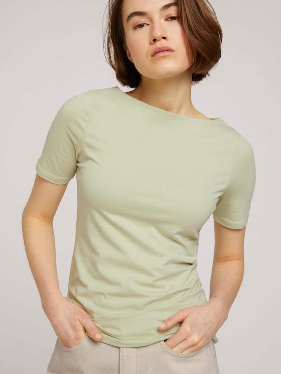 Basic Halbarmshirt mit Bio-Baumwolle - Frauen - light dusty green - 5 - TOM TAILOR Denim