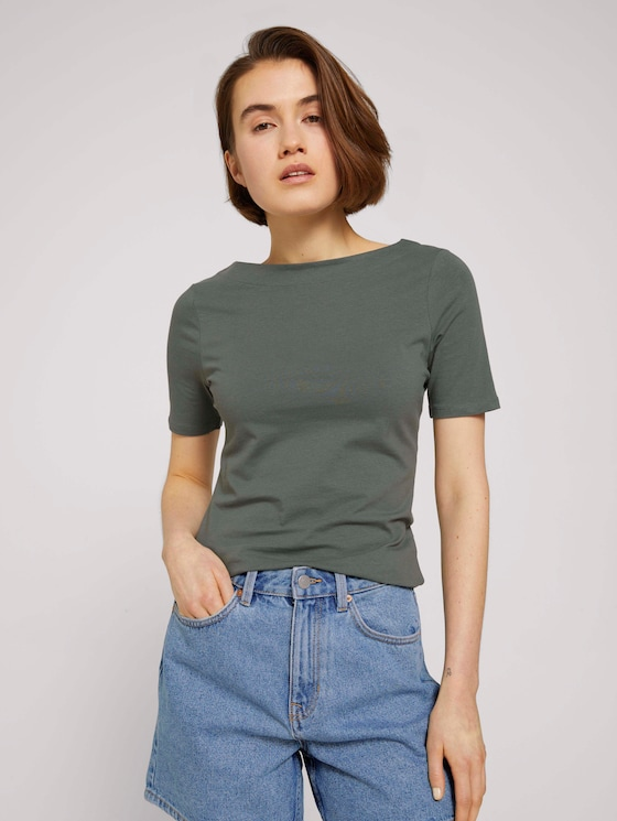 Basic Halbarmshirt aus Bio-Baumwolle - Frauen - dusty pine green - 5 - TOM TAILOR Denim
