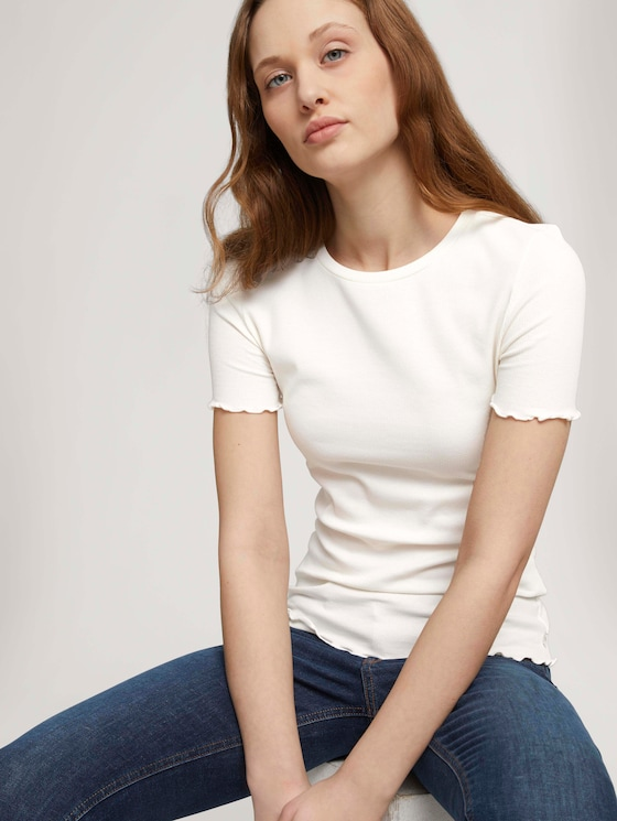 T-shirt met golvende randen - Vrouwen - Gardenia White - 5 - TOM TAILOR Denim