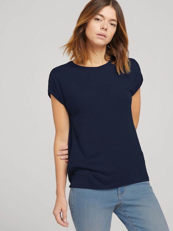 Fließendes Basic T-Shirt - Frauen - Sky Captain Blue - 5 - TOM TAILOR Denim
