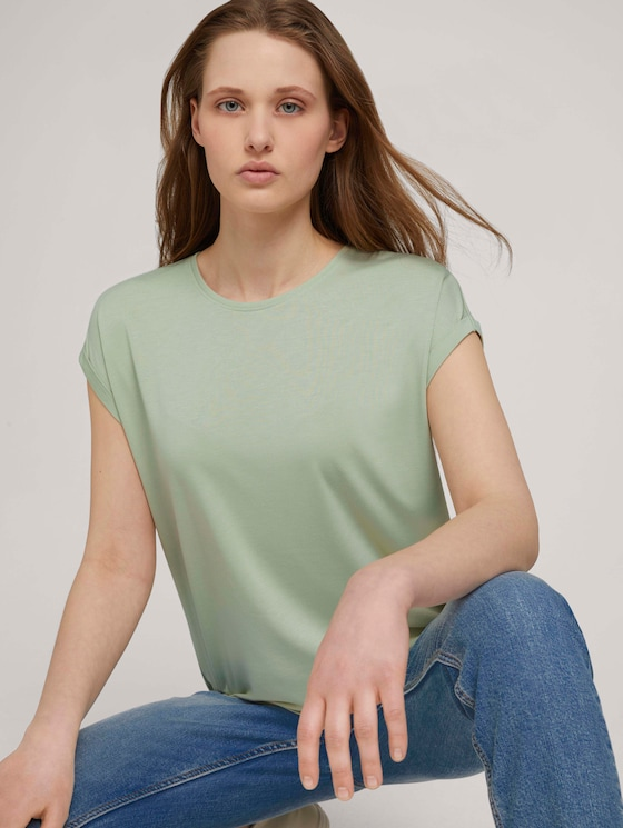 Fließendes Basic T-Shirt - Frauen - light dusty green - 5 - TOM TAILOR Denim