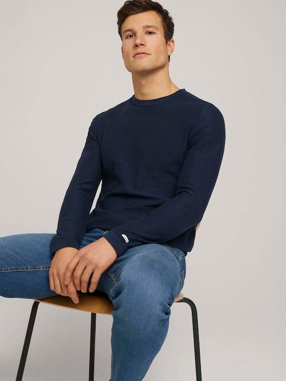 Sweatshirt mit Waschung - Männer - Dark Blue - 5 - TOM TAILOR
