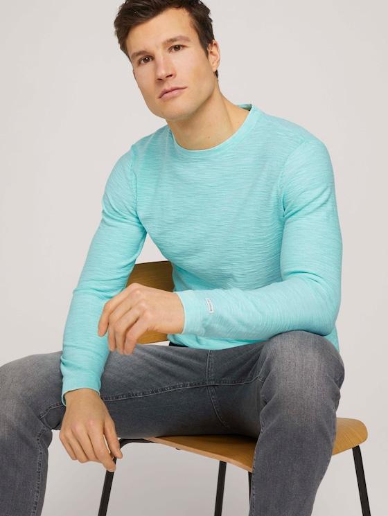 Sweatshirt mit Waschung - Männer - lucite green - 5 - TOM TAILOR