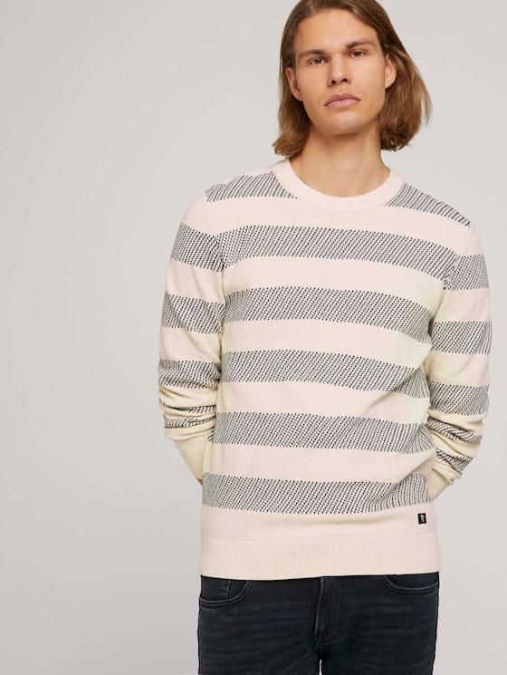 gestreifter Pullover mit Bio-Baumwolle  - Männer - soft beige navy stripe - 5 - TOM TAILOR Denim