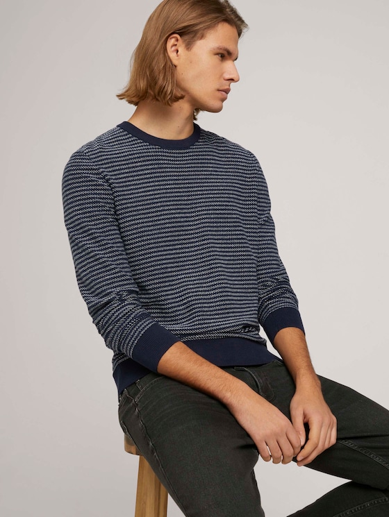 gestreifter Pullover mit Bio-Baumwolle  - Männer - navy blue white stripy pattern - 5 - TOM TAILOR Denim