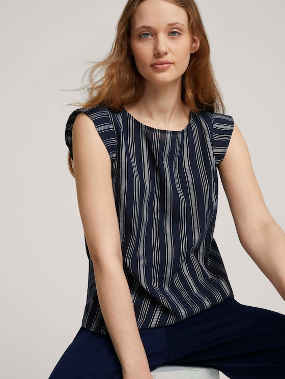 Striped blouse made with organic cotton  - Women - navy white vertical stripe - 5 - TOM TAILOR Denim