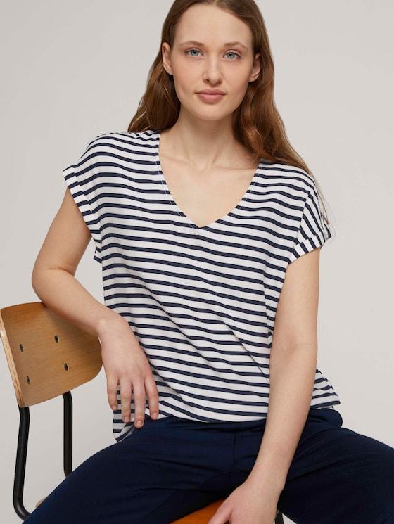 Gemusterte Kurzambluse aus nachhaltiger Viskose - Frauen - navy white stripe - 5 - TOM TAILOR Denim