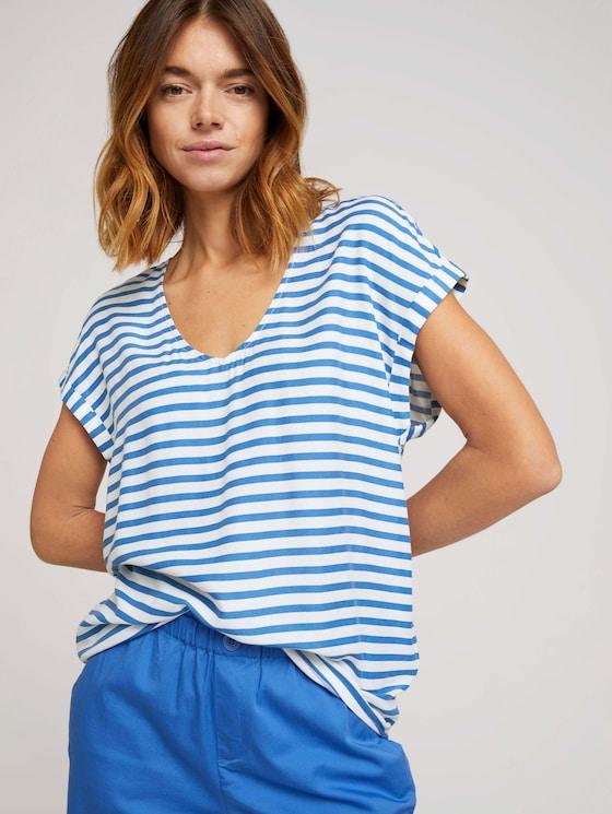 Gemusterte Kurzambluse aus nachhaltiger Viskose - Frauen - mid blue white stripe - 5 - TOM TAILOR Denim