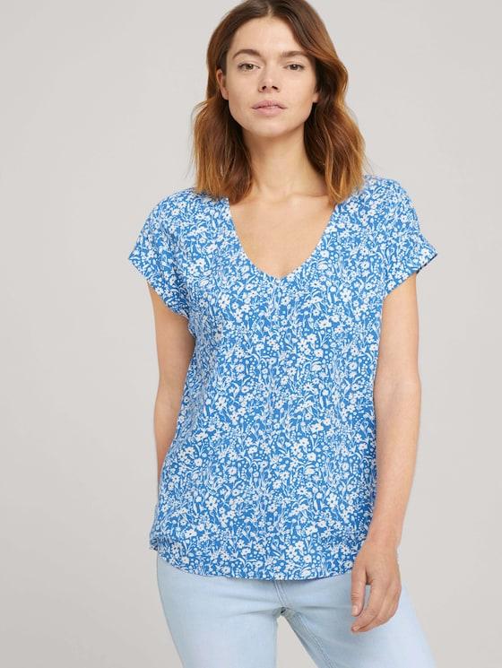 Gemusterte Kurzambluse aus nachhaltiger Viskose - Frauen - mid blue flower print - 5 - TOM TAILOR Denim
