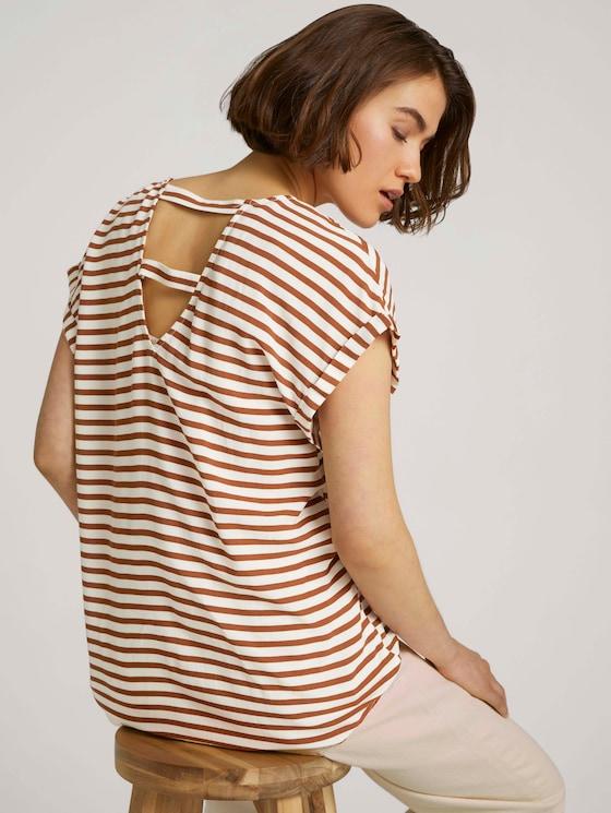 Gemusterte Kurzambluse mit LENZING™ ECOVERO™  - Frauen - white brown stripe - 5 - TOM TAILOR Denim