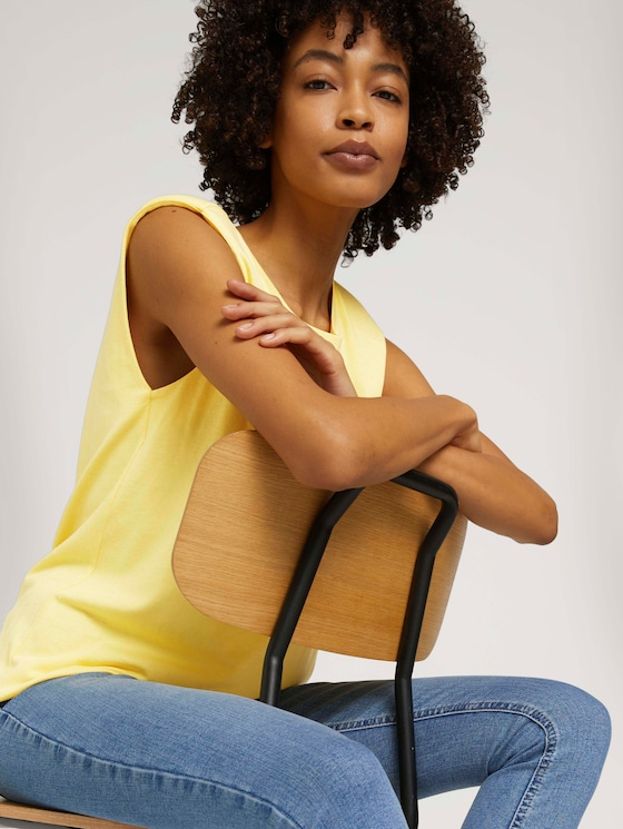 Ärmelloses Shirt mit Bio-Baumwolle - Frauen - mellow yellow - 5 - Mine to five