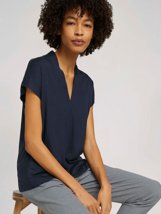 T-Shirt mit TENCEL™ und V-Ausschnitt - Frauen - Sky Captain Blue - 5 - Mine to five