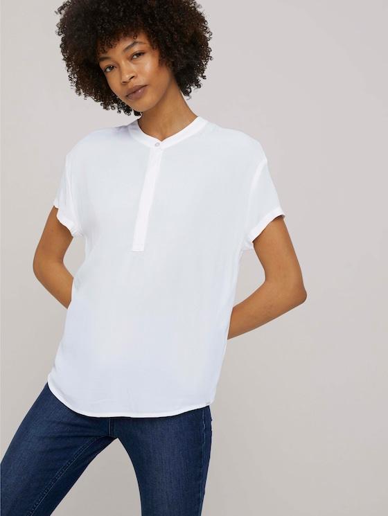 Blusenshirt mit kurzem Stehkragen - Frauen - White - 5 - Mine to five
