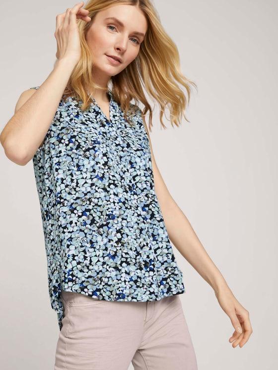 Ärmellose Bluse mit LENZING™ ECOVERO™ im Blumenmuster - Frauen - navy floral design - 5 - TOM TAILOR