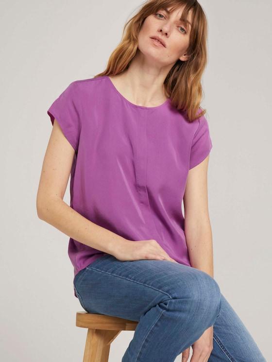 Kurzarmbluse mit Lyocell - Frauen - plum blossom lilac - 5 - TOM TAILOR