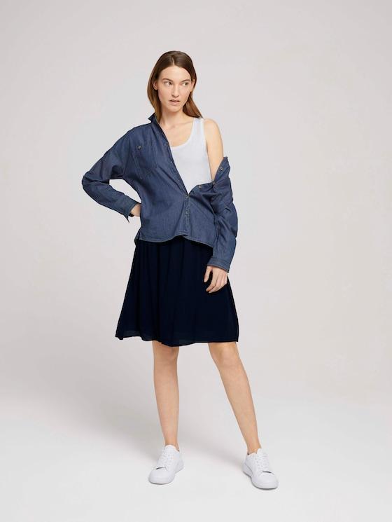 Flowing skirt with an elastic waistband - Women - Sky Captain Blue - 3 - TOM TAILOR