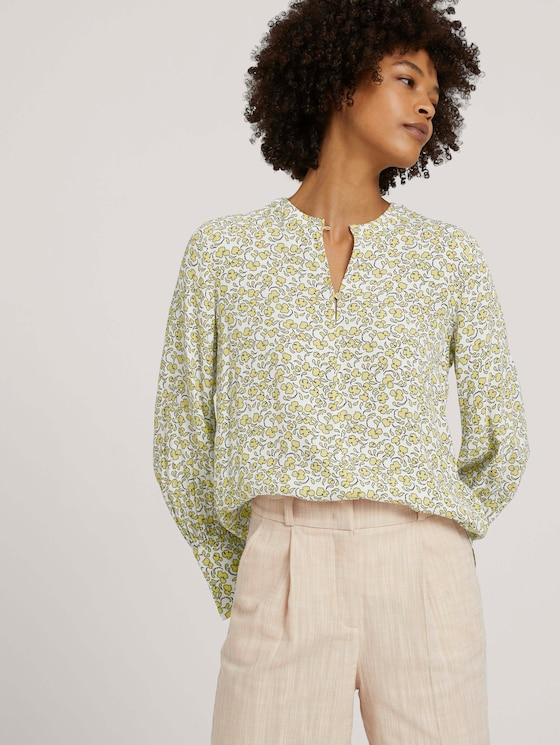Feminine Bluse mit Blumenmuster - Frauen - mellow yellow flower design - 5 - Mine to five