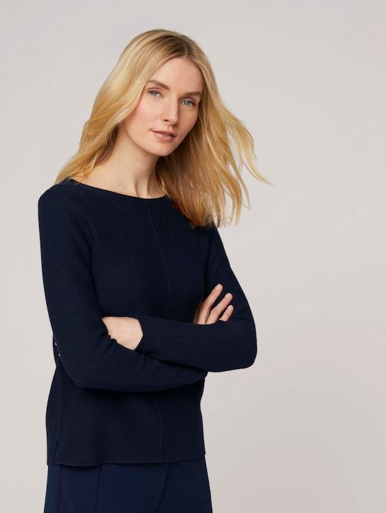 Strukturierter Pullover mit Bio-Baumwolle - Frauen - Sky Captain Blue - 5 - TOM TAILOR