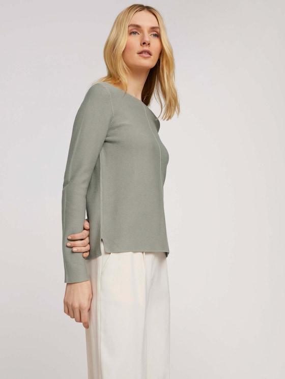 Strukturierter Pullover mit Bio-Baumwolle - Frauen - Prairie Grass Green - 5 - TOM TAILOR