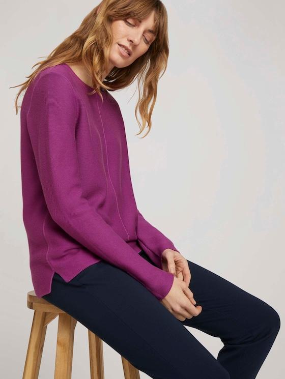 Strukturierter Pullover mit Bio-Baumwolle - Frauen - plum blossom lilac - 5 - TOM TAILOR