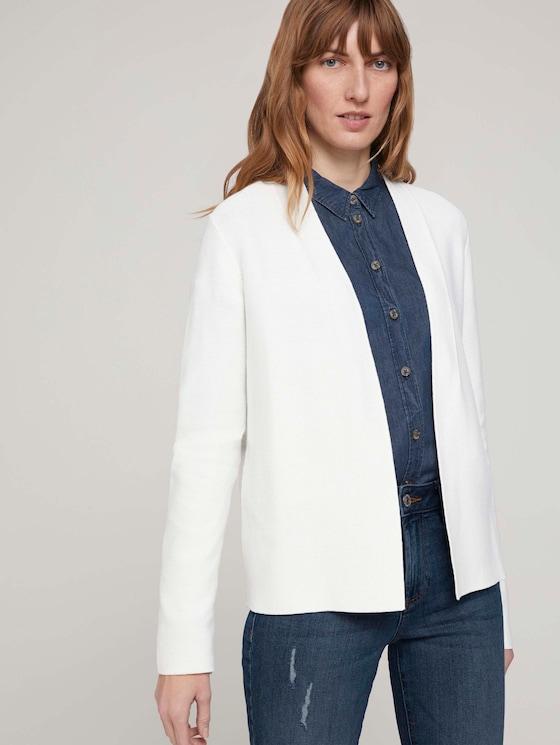 Strukturierter Cardigan mit Bio-Baumwolle - Frauen - Whisper White - 5 - TOM TAILOR