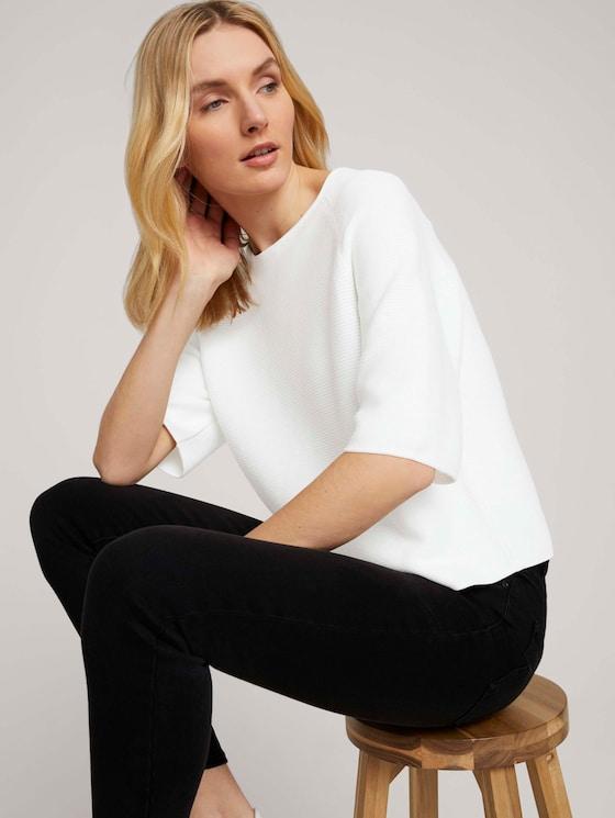 Strukturierter Pullover mit Bio-Baumwolle - Frauen - Whisper White - 5 - TOM TAILOR
