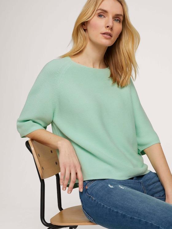 Strukturierter Pullover mit Bio-Baumwolle - Frauen - minty green - 5 - TOM TAILOR
