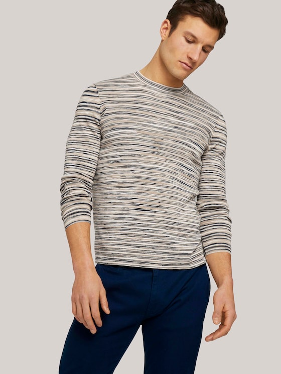 Sweatshirt in Melange-Optik - Männer - blue aqua white mouline - 5 - TOM TAILOR