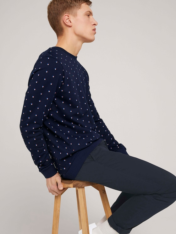 gemustertes Sweatshirt - Männer - navy colored squares print - 5 - TOM TAILOR Denim