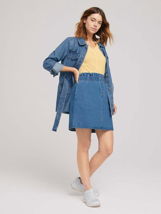Mini Jeansrock mit elastischem Bund - Frauen - Used Mid Stone Blue Denim - 3 - TOM TAILOR Denim