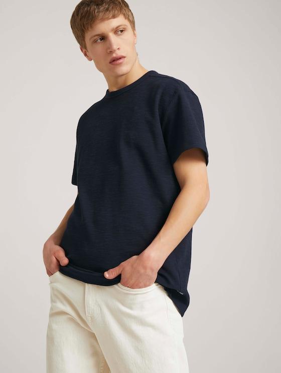 T-Shirt in Melange-Optik - Männer - Sky Captain Blue - 5 - TOM TAILOR Denim