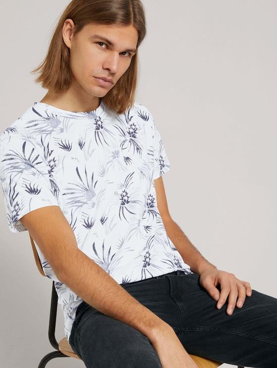 gemustertes T-Shirt mit Bio-Baumwolle - Männer - white navy thistle print - 5 - TOM TAILOR Denim