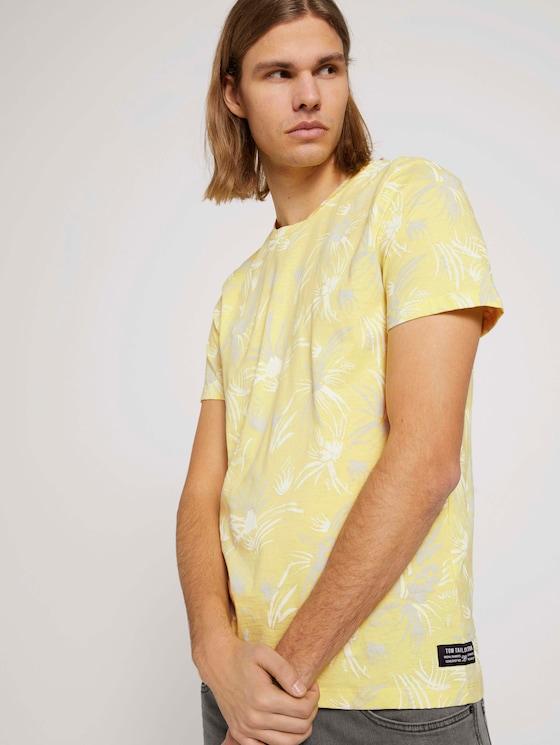 gemustertes T-Shirt mit Bio-Baumwolle - Männer - yellow white thistle print - 5 - TOM TAILOR Denim