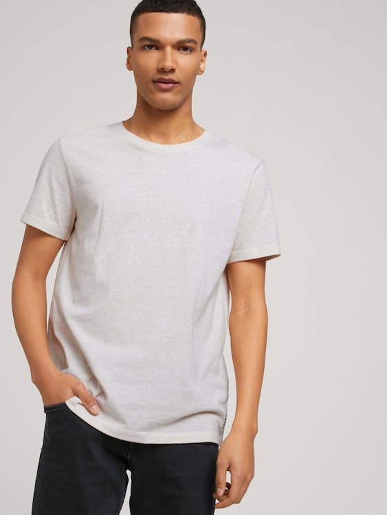 strukturiertes T-Shirt - Männer - fog beige thin yarn dye stripe - 5 - TOM TAILOR Denim