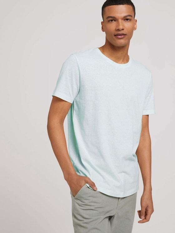 strukturiertes T-Shirt - Männer - mint white yd thin stripe - 5 - TOM TAILOR Denim