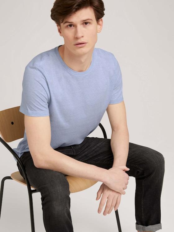 strukturiertes T-Shirt - Männer - blue white yd thin stripe - 5 - TOM TAILOR Denim
