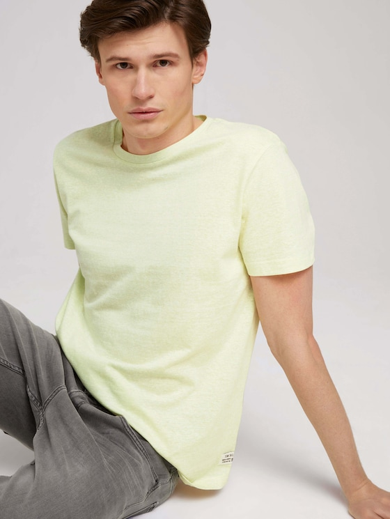 strukturiertes T-Shirt - Männer - cream yellow white thin stripe - 5 - TOM TAILOR Denim