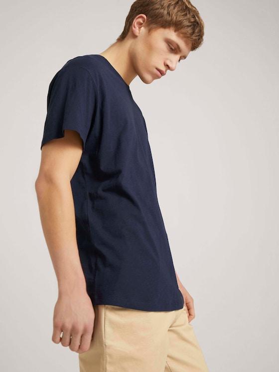 T-Shirt aus Leinenmix - Männer - Sky Captain Blue - 5 - TOM TAILOR Denim
