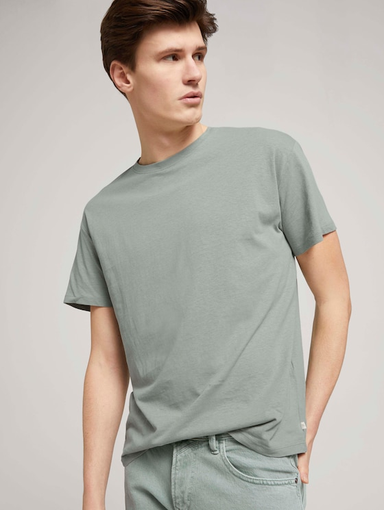 T-Shirt aus Leinenmix - Männer - Greyish Shadow Olive - 5 - TOM TAILOR Denim