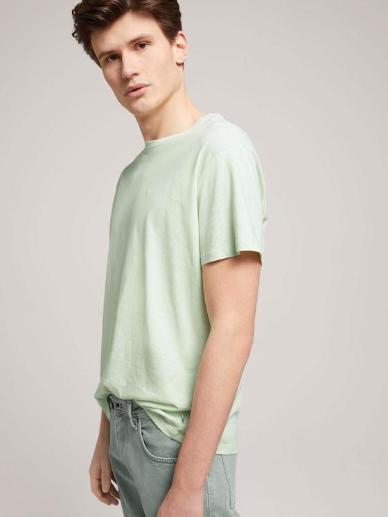 T-Shirt aus Leinenmix - Männer - smooth green - 5 - TOM TAILOR Denim