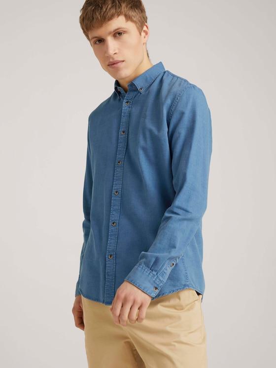 strukturiertes Hemd mit Bio-Baumwolle - Männer - blue tonal structure - 5 - TOM TAILOR Denim