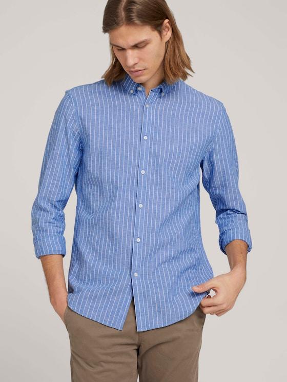 Gestreiftes Hemd mit Leinen - Männer - blue white linen stripe - 5 - TOM TAILOR Denim