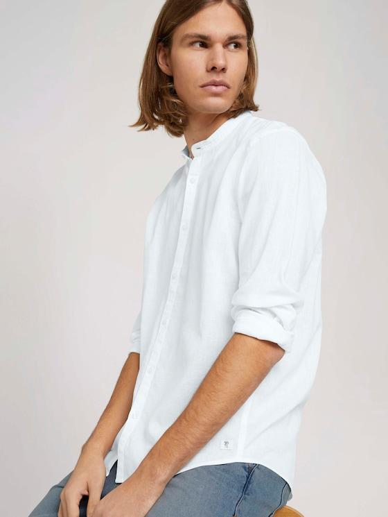 Stehkragenhemd mit Leinen - Männer - White - 5 - TOM TAILOR Denim