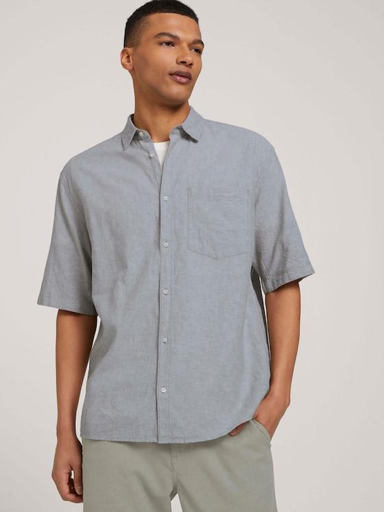 Lockeres Kurzarmhemd mit Leinen - Männer - olive white chambray - 5 - TOM TAILOR Denim
