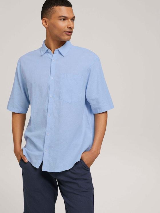 Lockeres Kurzarmhemd mit Leinen - Männer - light blue white chambray - 5 - TOM TAILOR Denim