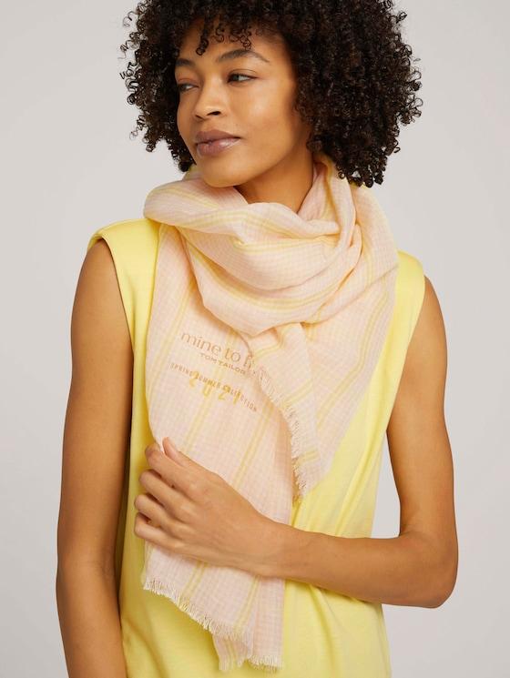 Karierter Schal mit Leinen - Frauen - scarf check - 5 - Mine to five
