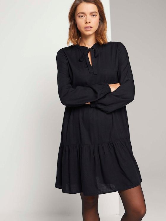 Mini Babydoll Kleid mit Schleife - Frauen - Deep Black - 5 - TOM TAILOR Denim