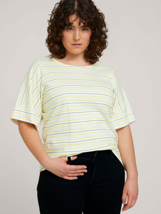 gestreiftes T-Shirt mit Bio-Baumwolle - Frauen - soft blue yellow stripe - 5 - My True Me