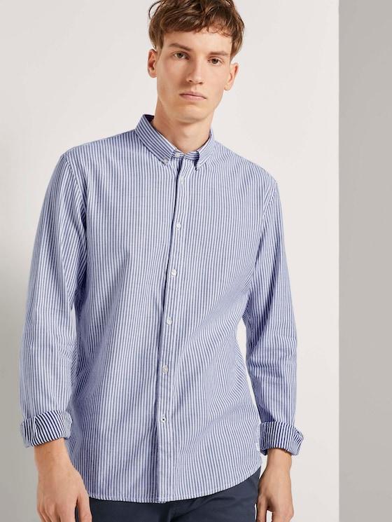 Slim Fit Hemd mit Streifen - Männer - navy white pique stripe - 5 - TOM TAILOR Denim