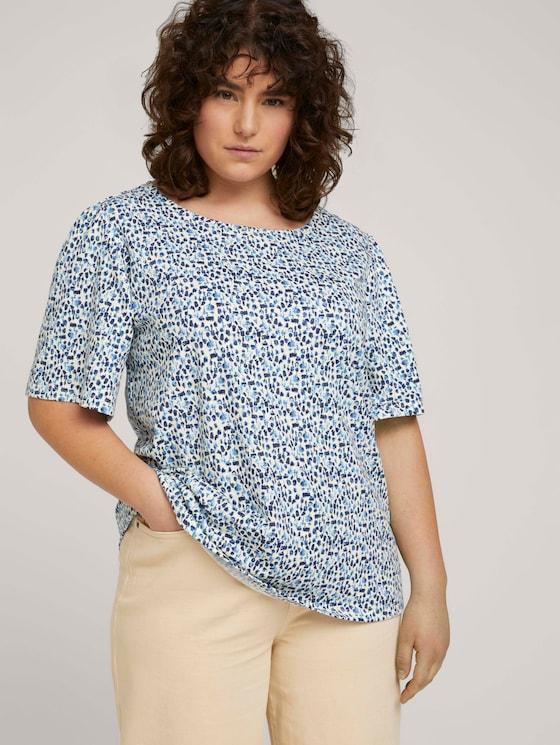 T-Shirt mit Volantärmeln - Frauen - blue aquarelle dots - 5 - My True Me